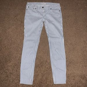 Free People Blue and White Striped Jeans